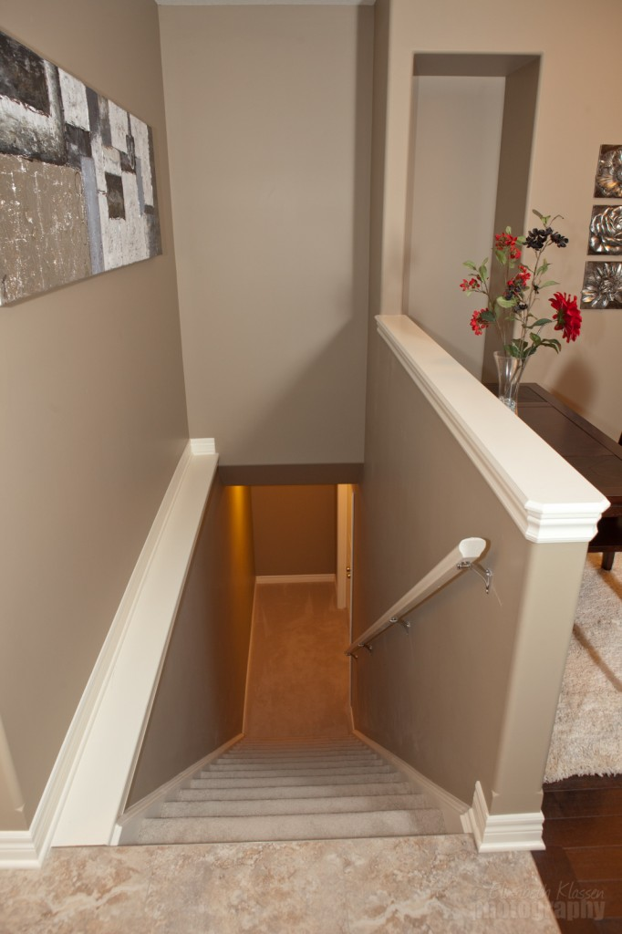 Basement Stair Trim: Half Wall With Cap And Oak Rail To Basement