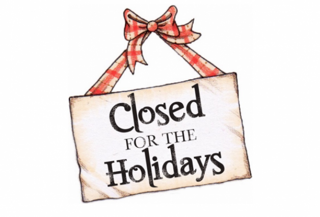 We are closed for the holidays!