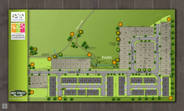 Check out our artist's rendering of our site plan for the Neighbourhood of Broadway Gardens!